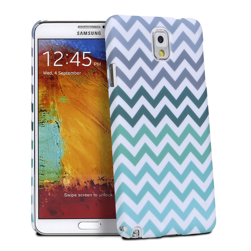 For Samsung Galaxy Note 3 Rubberized Hard Chevron Waves Stripe Case Phone Cover