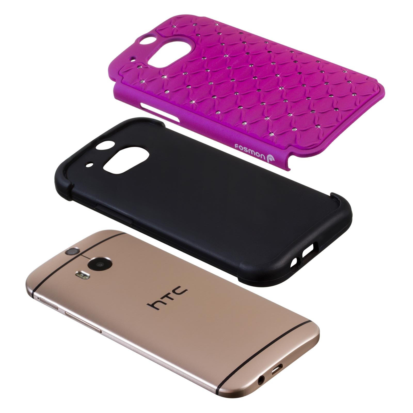 New Heavy Duty Hard Soft Hybrid Bling Diamond Case Cover for HTC One M8 2014