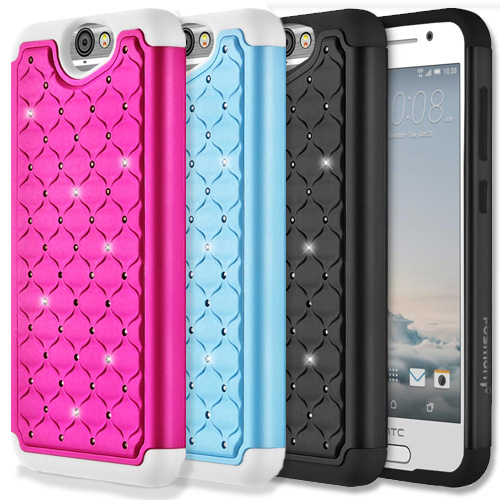 For HTC One A9 Luxury Bling Diamond Impact Hybrid TPU PC Bumper Frame Case Cover