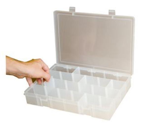 Clipsandfasteners Adjustable Compartment Small Plastic Storage Box