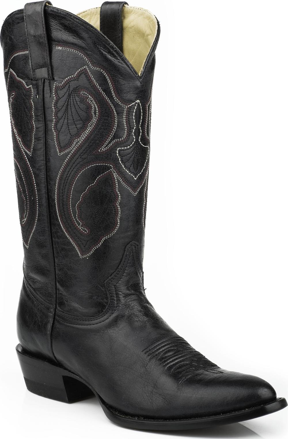 Stetson Men's Western Cowboy Leather Boots R Toe 0663 Black Medium (D, M) at Sears.com