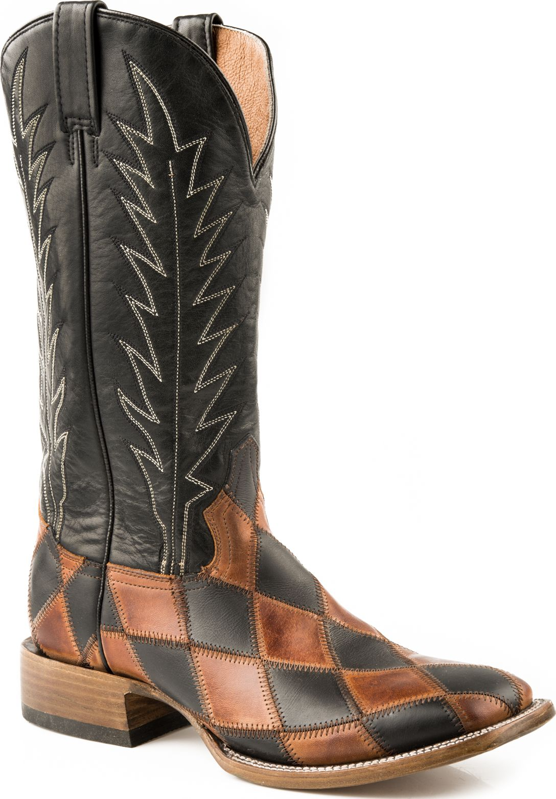 Stetson Mens Western Cowboy Boots Square Toe Patchwork 0751 Brown Medium (D, M) at Sears.com