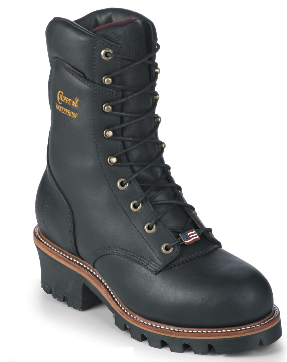 Chippewa Men's Waterproof Super Logger Work Boot USA Made Black 25411 (E) at Sears.com