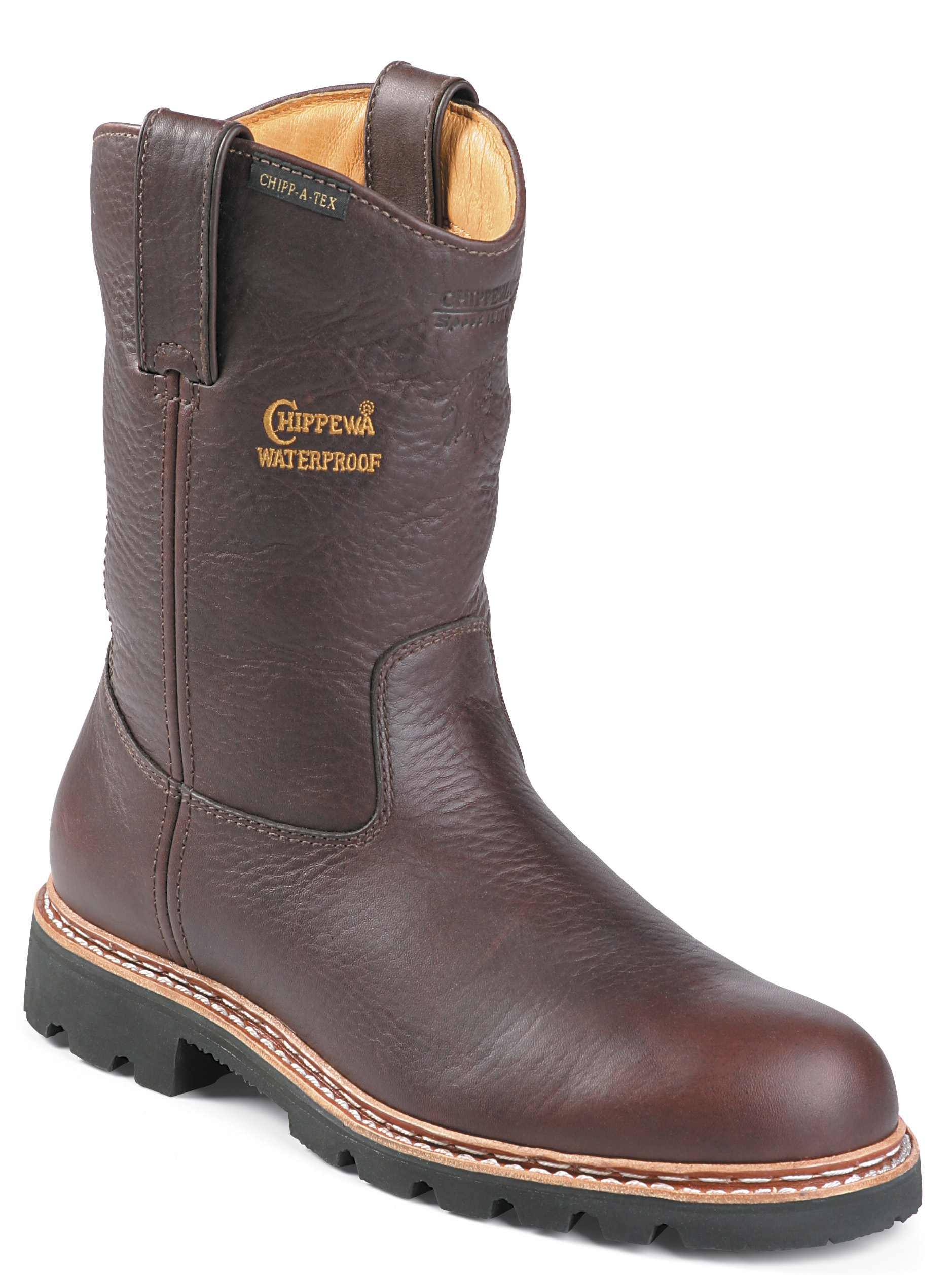 Chippewa Men's Rugged Outdoor Waterproof Work Boots Pull On 25975 Brown Medium