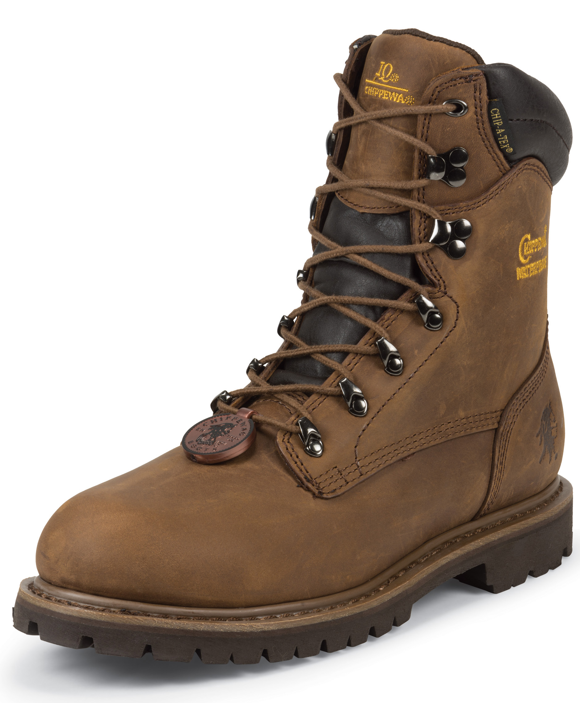 "Chippewa Chippewa Mens 8"" Heavy Duty Tough Bark WP Lug Boot Steel Toe 55069 Extra Wide"