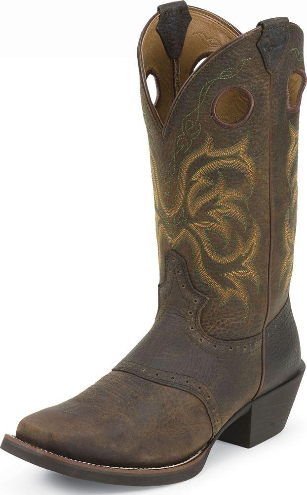 Justin Men's Stampede Punchy Western Boots Dark Brown Rawhide Medium 2523 at Sears.com