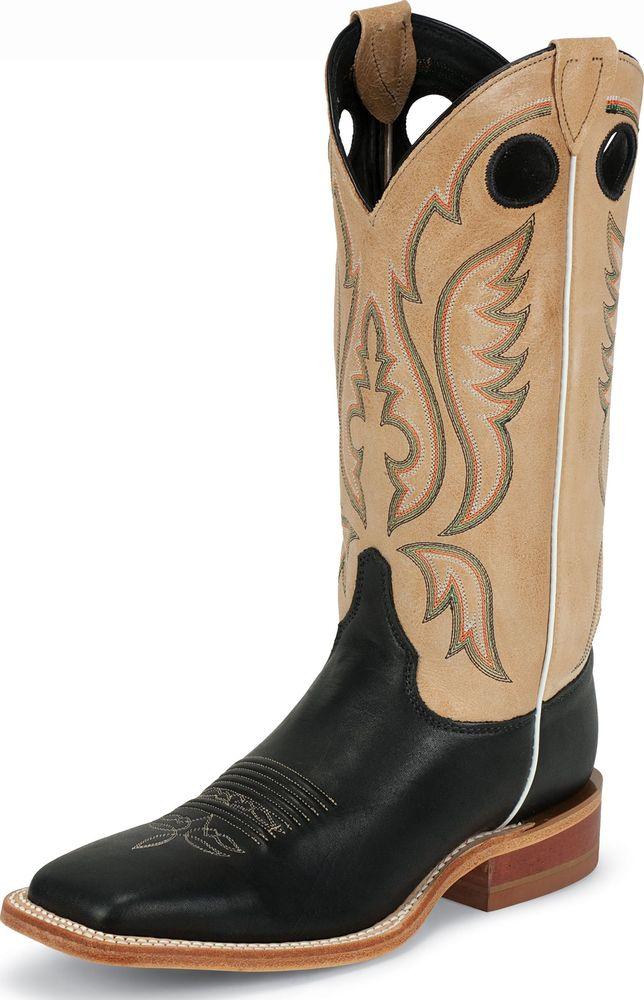 Justin Men's Justin Bent Rail Western Boots Made In USA Black Calf Medium BR303 at Sears.com