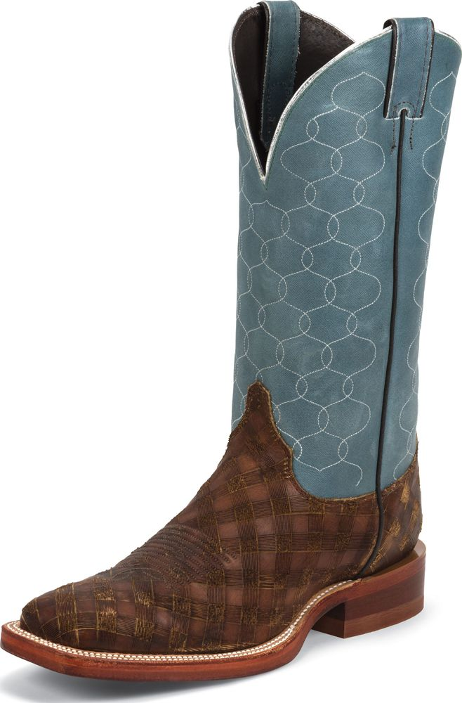 Justin Mens USA Made 13 Briar Checkmate Cowhide Bent Rail Cowboy Boot Wide BR411 at Sears.com