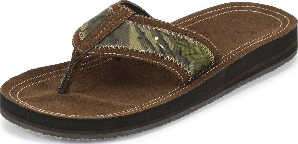 Justin Men's Justin Brown/Camo Sandal Flip Flop Open Toe Medium (D, M) SM302