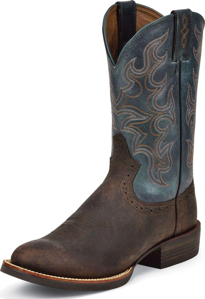 Justin Men's Western Justin Boots Silver Cattleman Choco Puma Buffalo Wide SV7215 at Sears.com