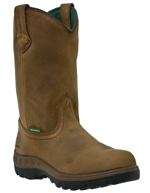 "John Deere Men's John Deere Work Boots 12"" WCT Waterproof Steel Toe Pull On Leather Wide (EE) Brown JD4604 at Sears.com"