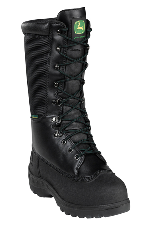 "John Deere Mens John Deere 12"" Lace-Up Work Boots Waterproof Leather Medium (D, M) Black JD9620 at Sears.com"