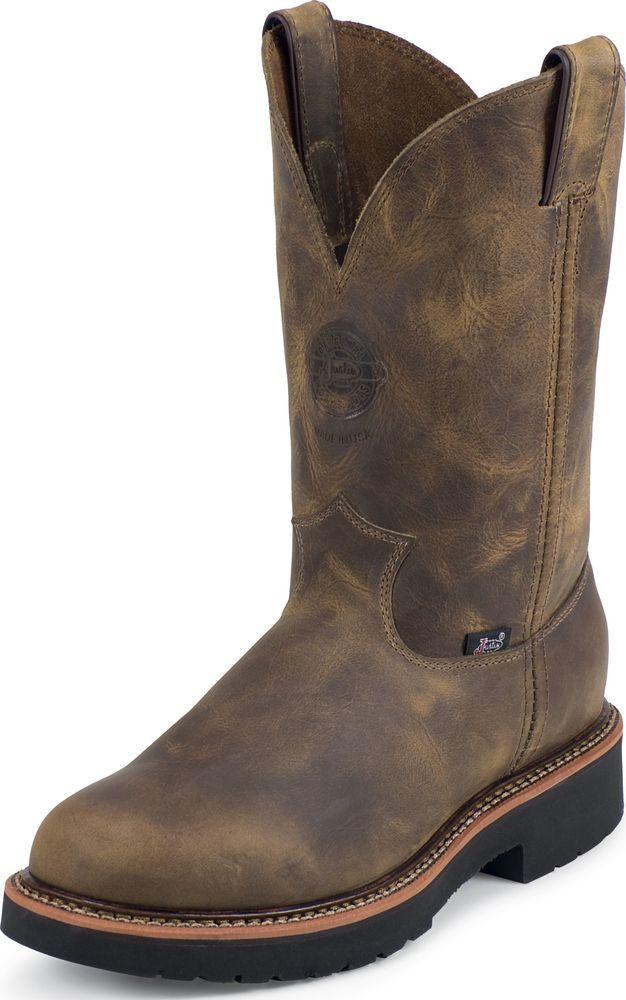 Justin Mens Justin J-Max Pull On Western Work Boot Made In USA Soft Toe Tan Narrow 4440 at Sears.com