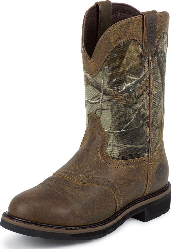 Justin Men's Justin Stampede Waterproof Camo Work Boots Composite Toe Medium WK4673