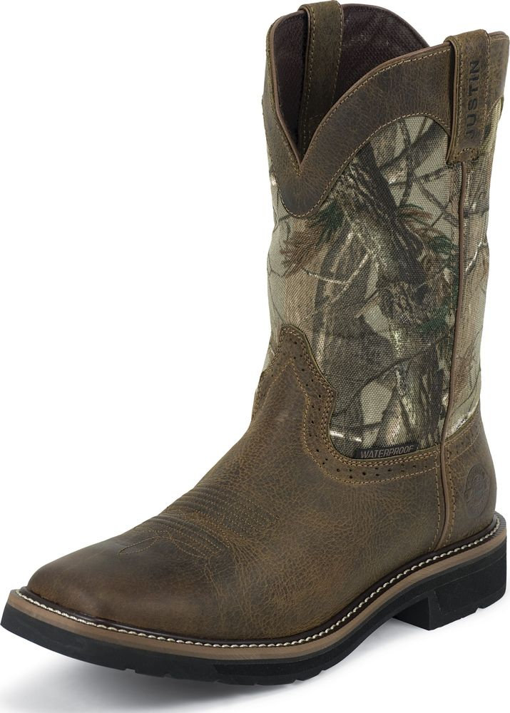 Justin Mens Justin Stampede Camo Waterproof Work Boots Pull On Square Toe Wide WK4676 at Sears.com
