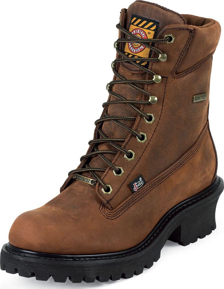 "Justin Mens Justin Mahagony Harness GORE-TEX Waterproof 8"" Logger Boots Medium WK615"