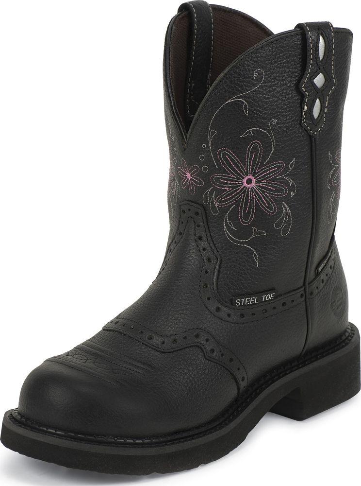 Justin Womens Gypsy Waterproof Steel Toe Western Work Boot Black Medium WKL9982