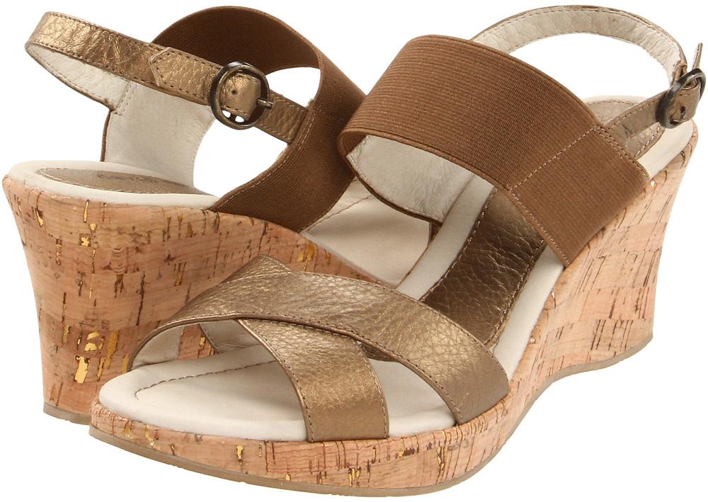 David Tate Women's David Tate Oasis Wedge Platform Sandal Bronze Leather/Fabric Medium at Sears.com