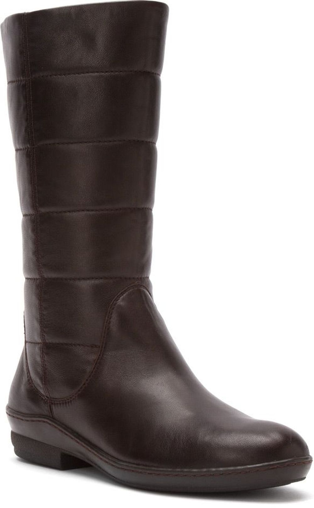 David Tate Women's David Tate Pamela Fashion Mid-Calf Boots Side Zip Brown Leather Wide