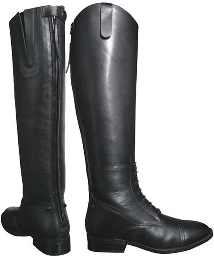Women's Smoky Mountain Leather Field Boot Black Riding Tall Boot Medium 6045