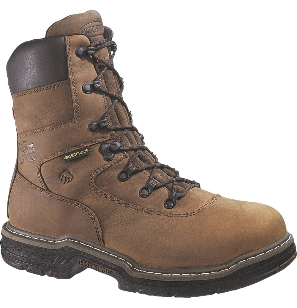 Wolverine Mens Wolverine Brek Leather DuraShocks Leather Work Boots Brown Wide (EE) W02163 at Sears.com