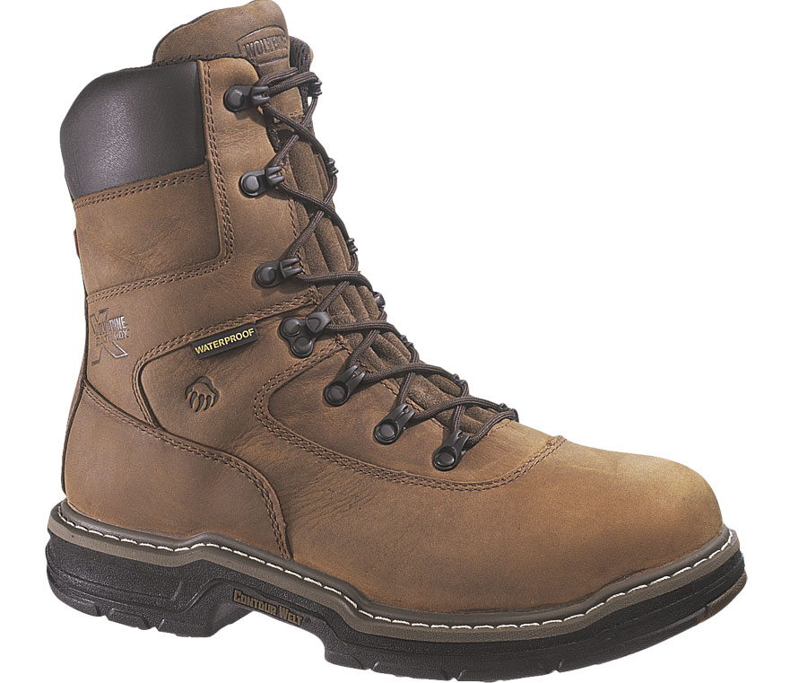 Wolverine Mens Wolverine Brek Leather DuraShocks Leather Work Boots Brown Wide (EE) W02164 at Sears.com