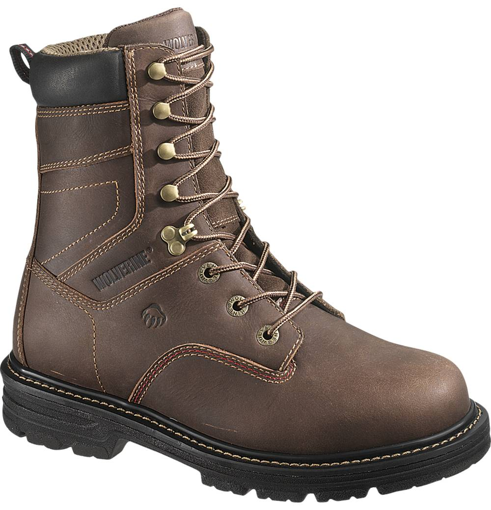 mens wolverine nolan leather lightweight work boots brown