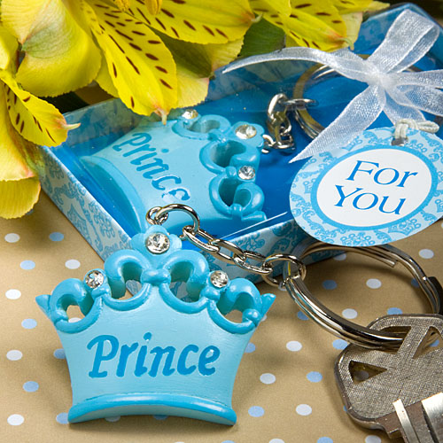 about 60 blue crown themed prince key chains baby shower favors