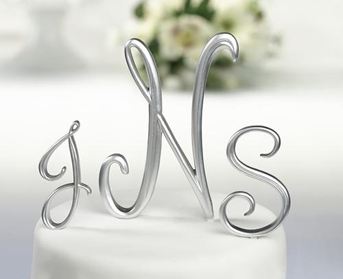 SILVER-MONOGRAM-WEDDING-CAKE-TOPPER-PICK-SIZE-LETTER