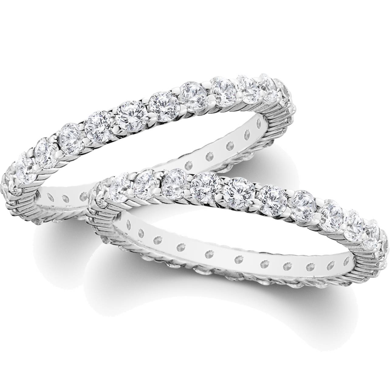 2ct diamond eternity stackable wedding rings set 14k white gold womens