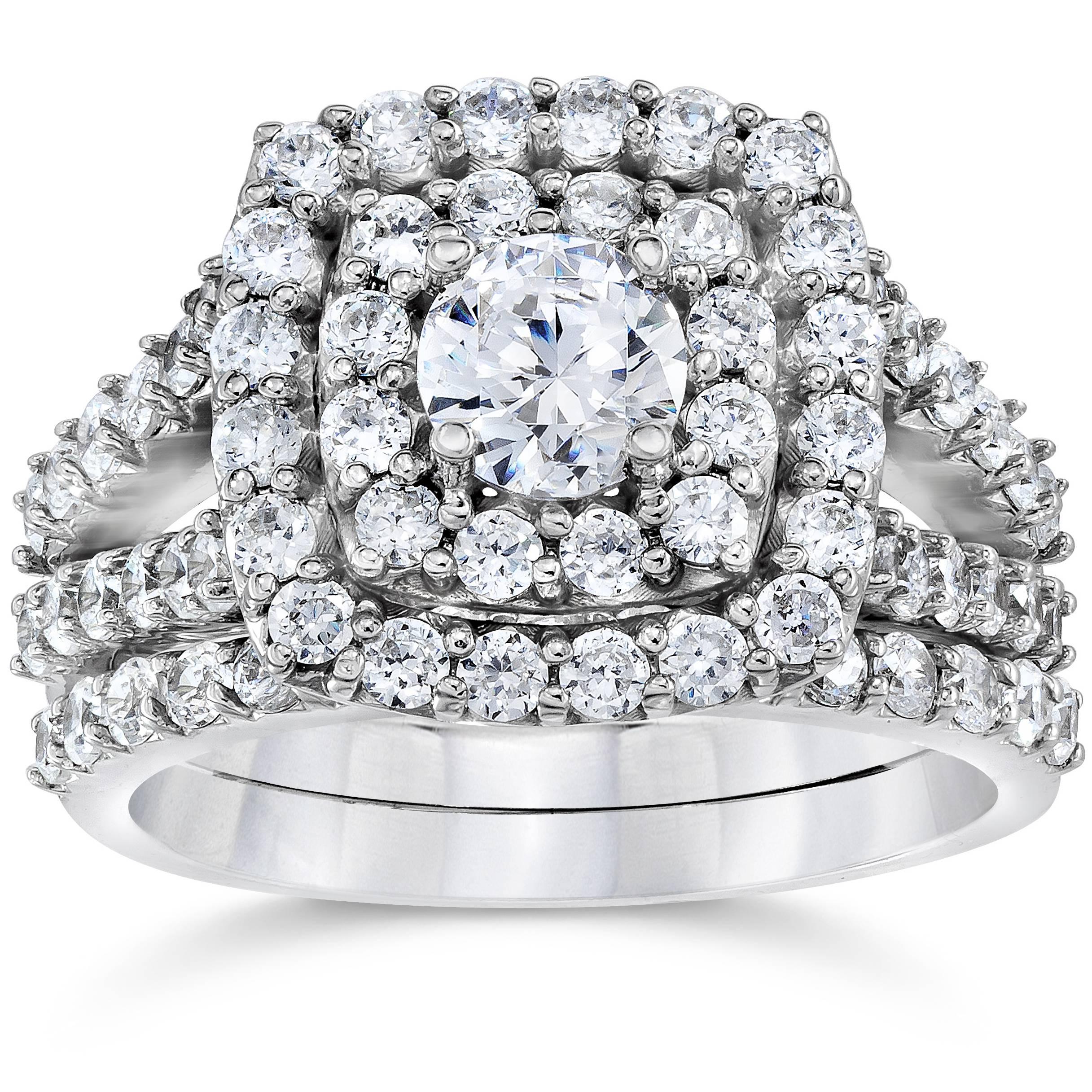 2 carat diamond cushion halo engagement wedding ring set. Black Bedroom Furniture Sets. Home Design Ideas