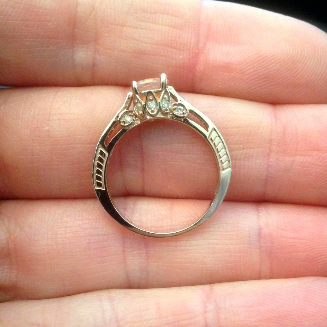 14K Rose Gold 1 carat Morganite & Diamond Vintage Engagement Ring
