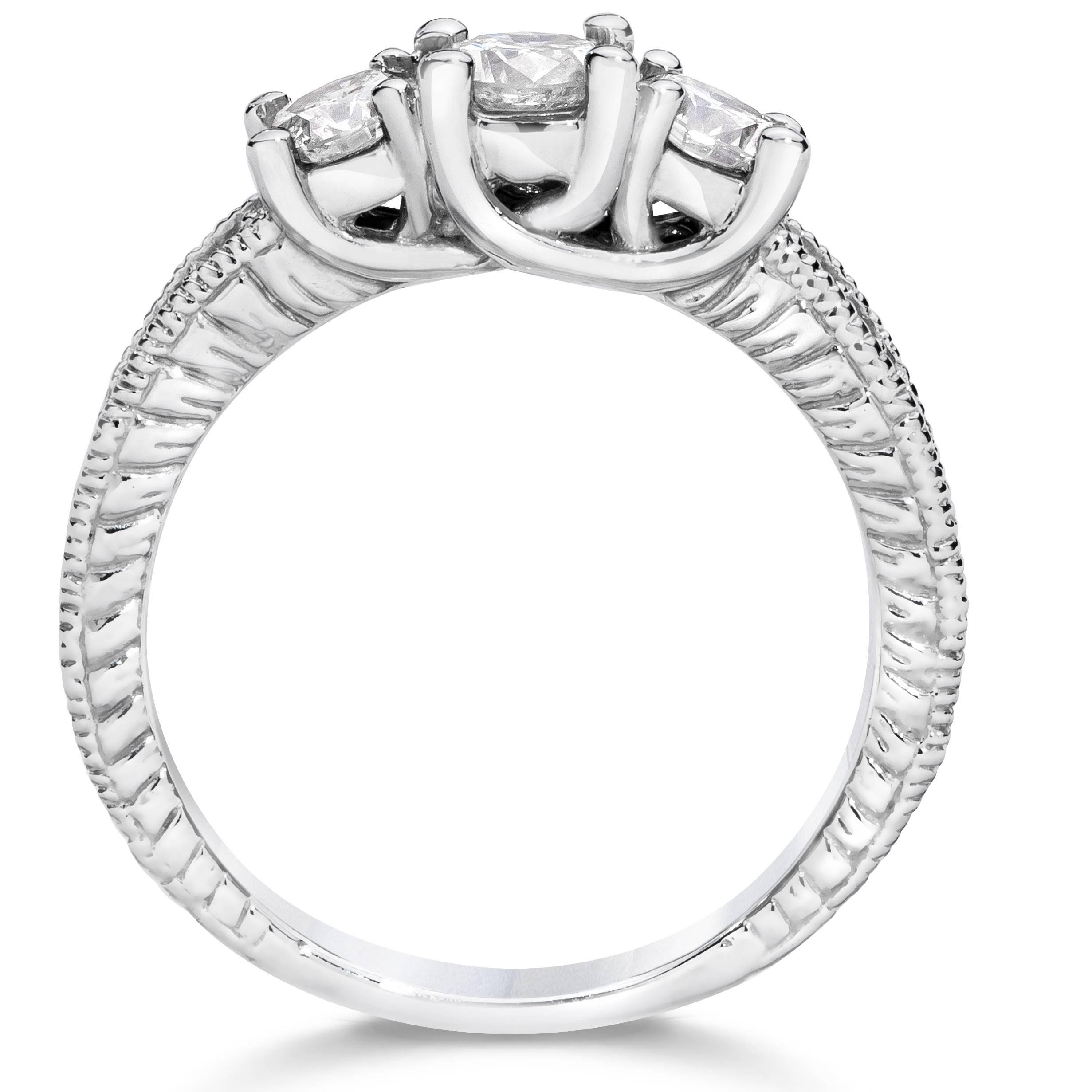 1 carat vintage 3 stone diamond engagement anniversary. Black Bedroom Furniture Sets. Home Design Ideas