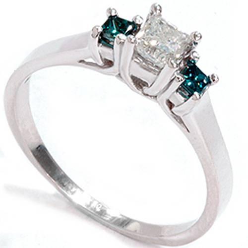 1 2ct Princess Cut Treated Blue & White Diamond 3 Stone Engagement Ring 1