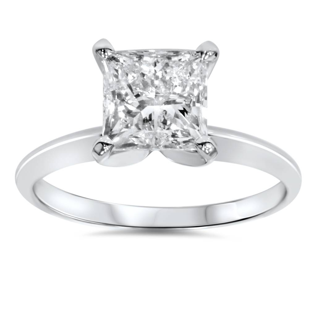 1ct solitaire princess cut engagement ring 14k