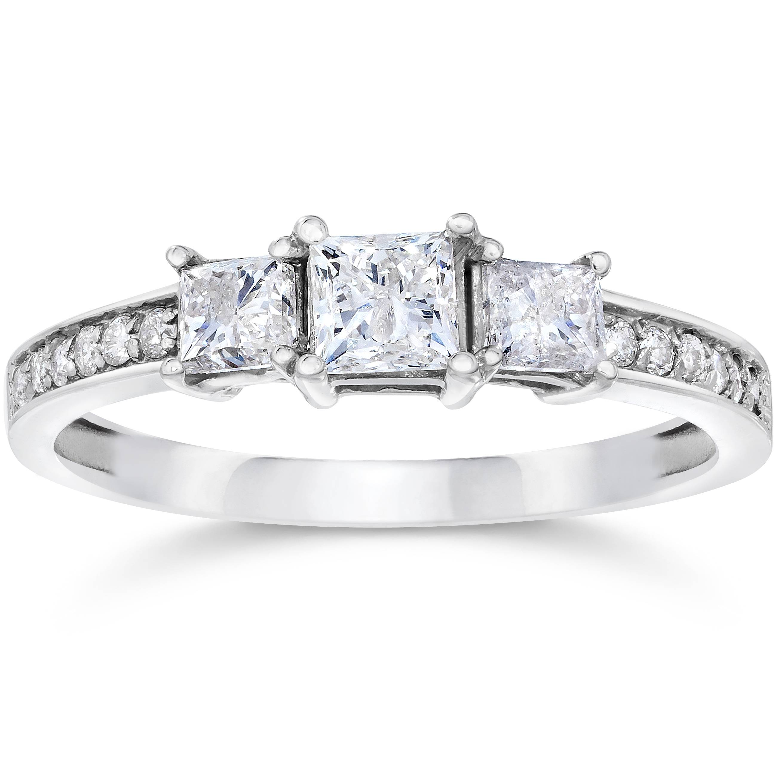 1/2ct Three Stone Princess Cut Diamond Engagement Ring 14K ...