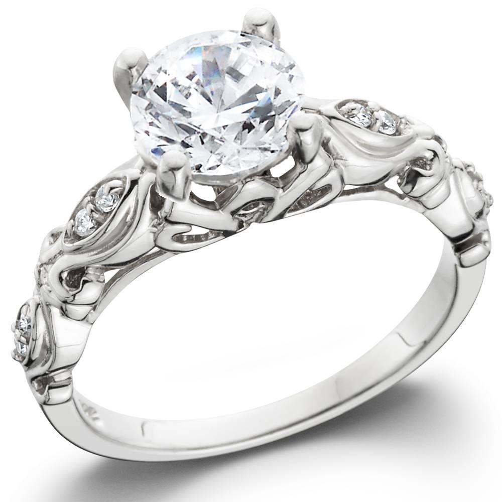 1 1 16ct Vintage Lab Created Diamond Engagement Ring 14K White Gold Antique
