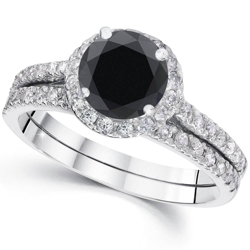 2 1 2 cttw Black Diamond Halo Engagement Wedding Ring Set White Gold Treated