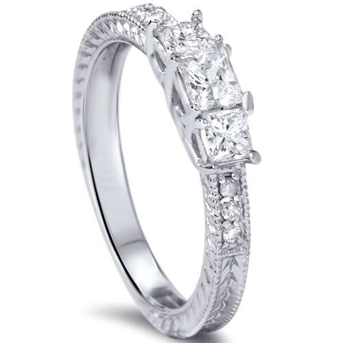 1 2ct Vintage Three Stone Princess Cut Diamond Engagement Ring 14K White Gold