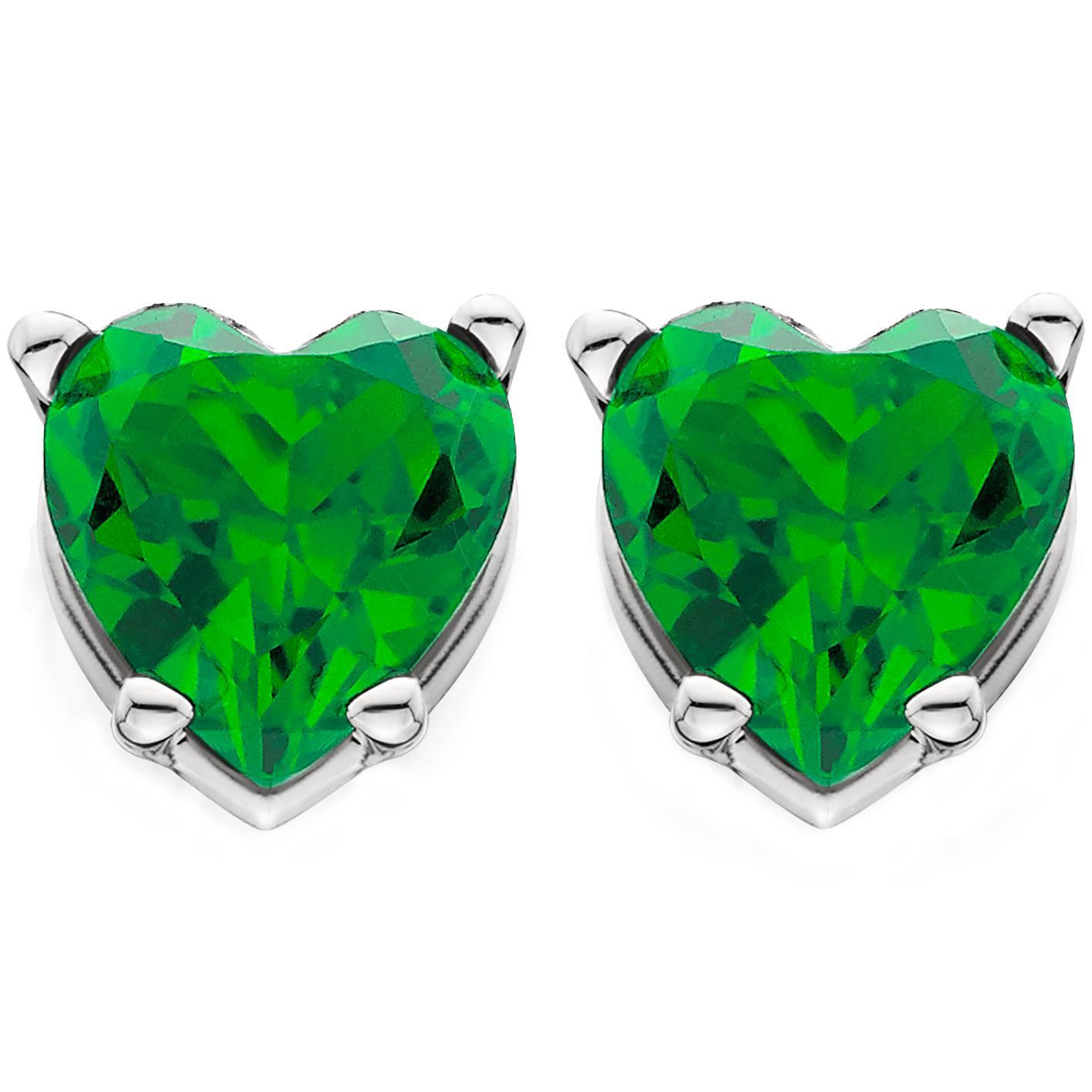 1ct heart shape simulated emerald studs earrings 14k white