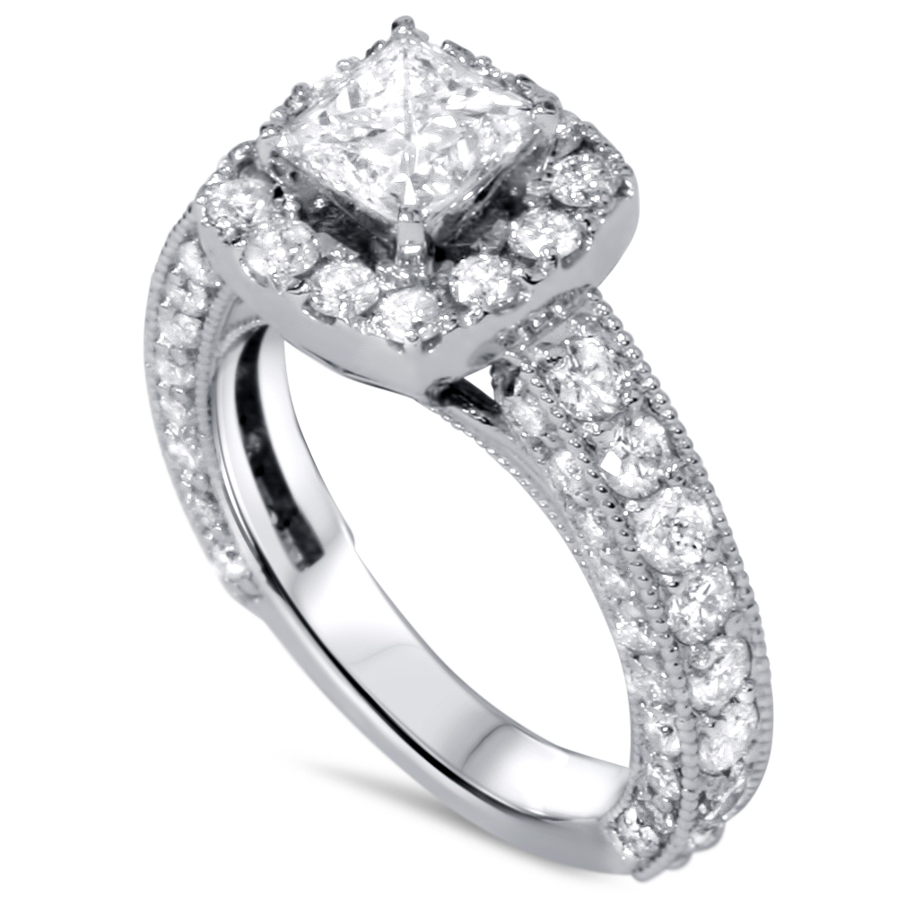 Women s 2 1 2ct Princess Cut Vintage Diamond Engagement Heirloom Ring 14K