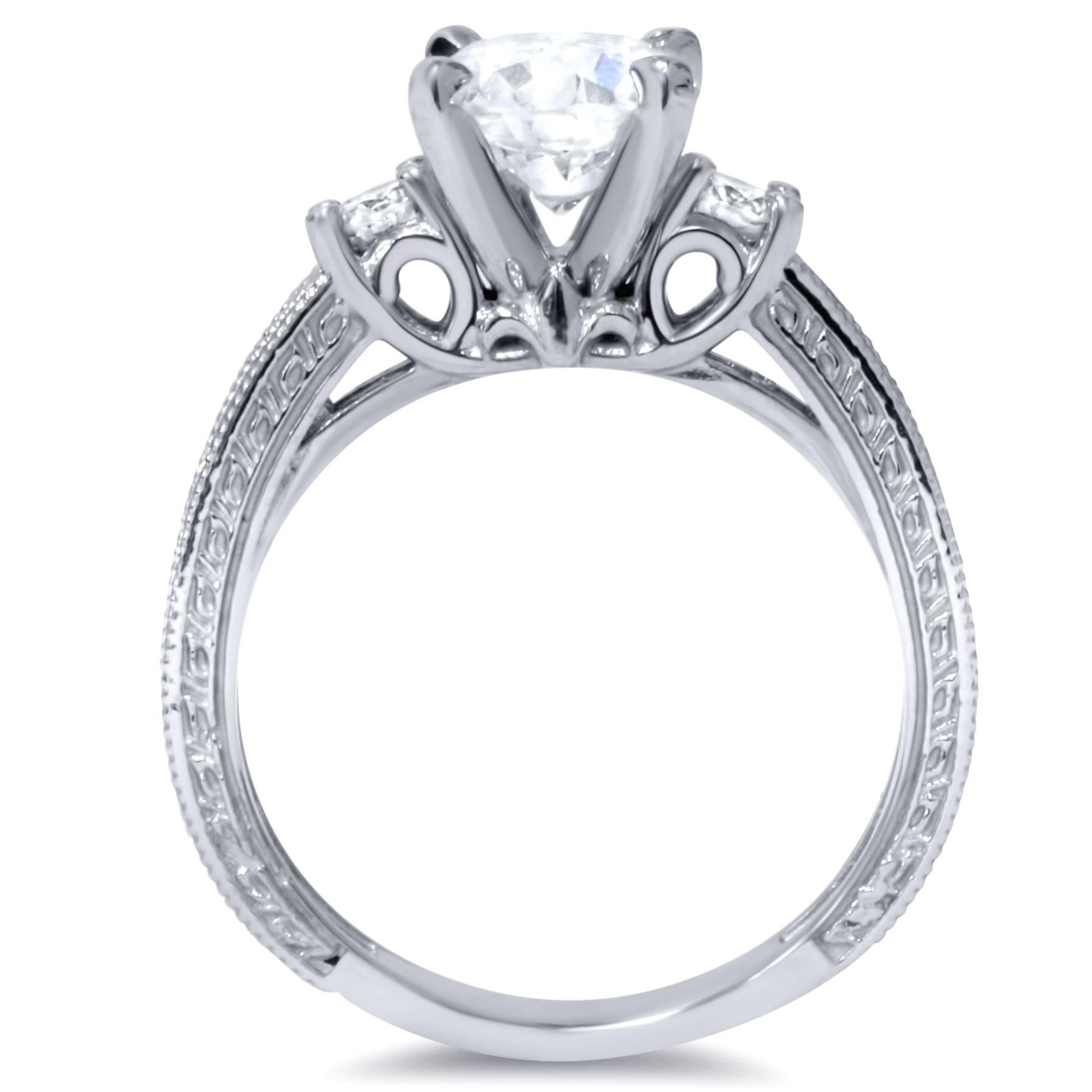 1 3 4ct Vintage Diamond Engagement Ring 14K White Gold