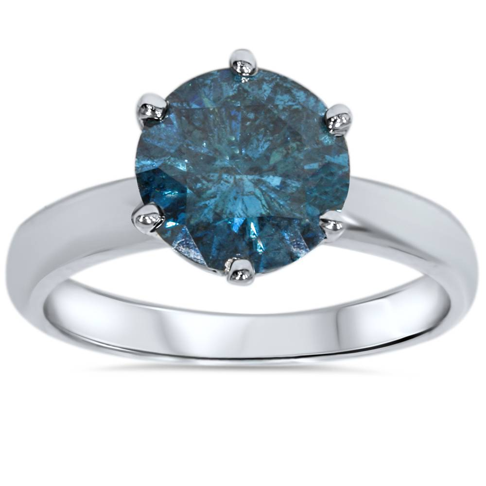 2ct treated blue diamond solitaire engagement ring 14k. Black Bedroom Furniture Sets. Home Design Ideas