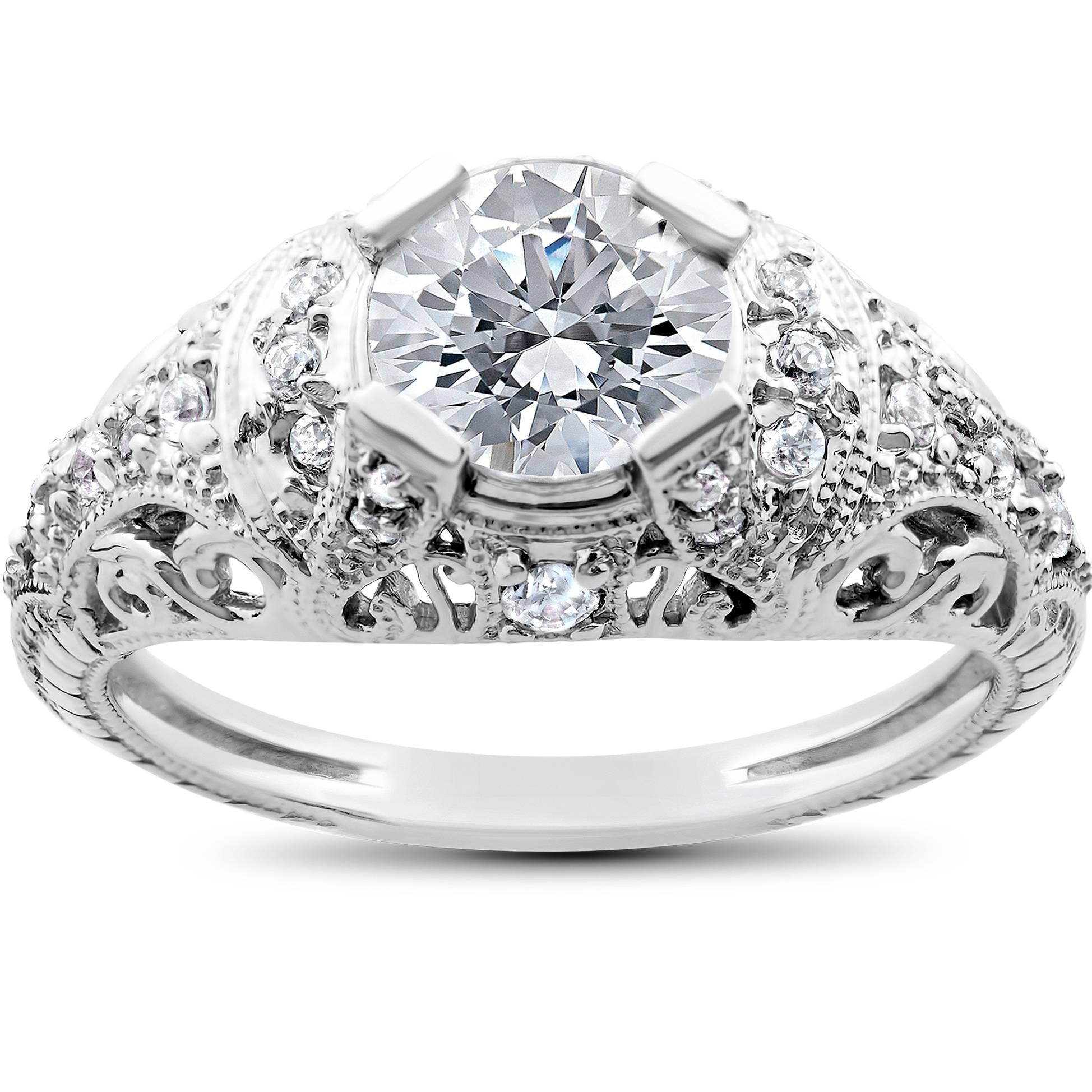 Vintage Enhanced Diamond Engagement Ring 1 1 5ct Filligre Antique 14K White G