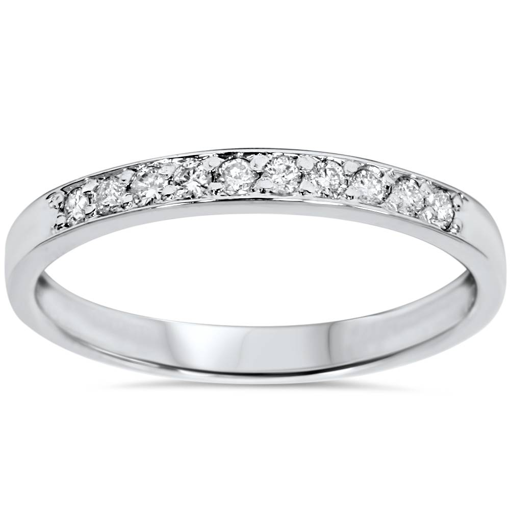 1 4ct diamond stackable wedding ring 14k white gold