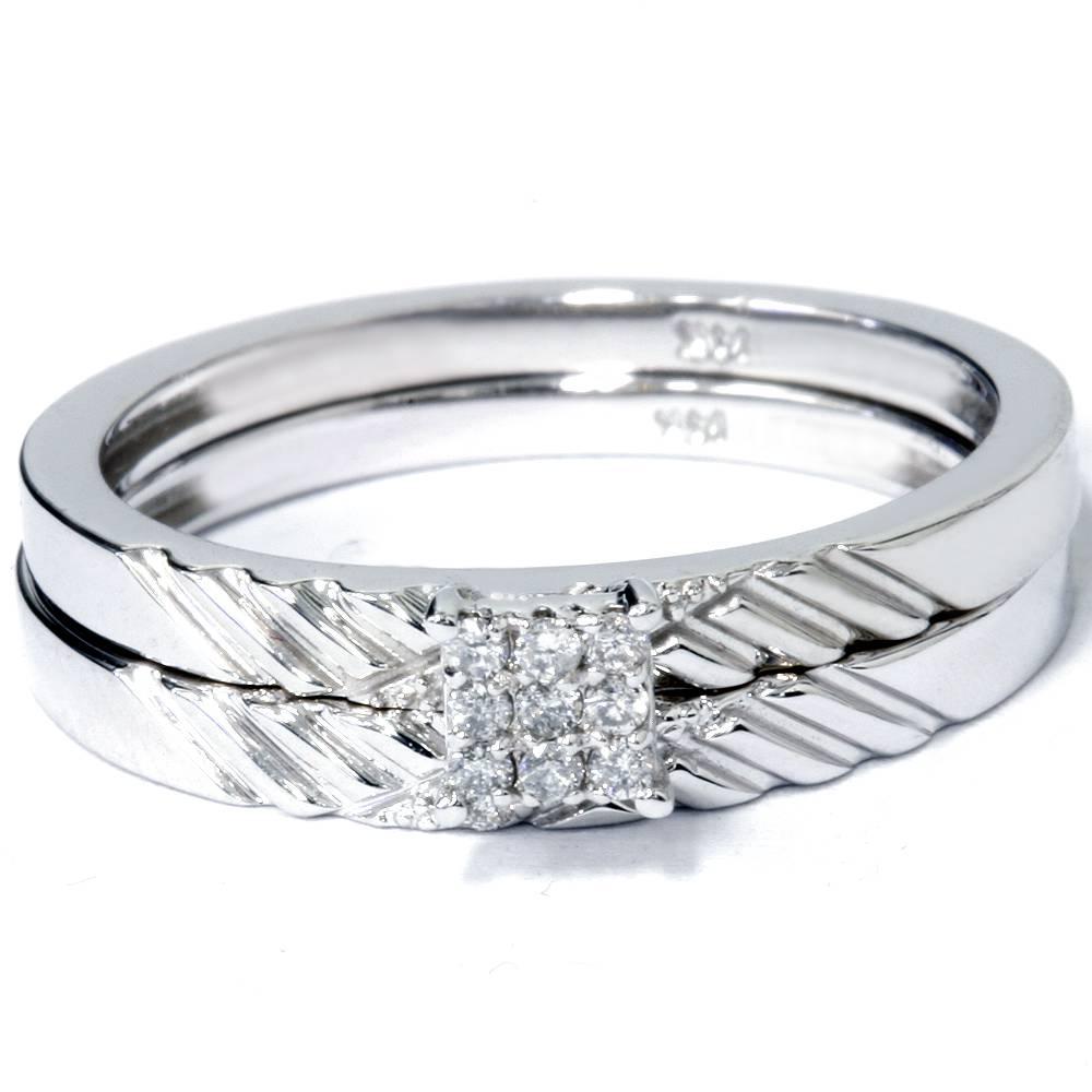 engagement matching wedding ring set 14k white