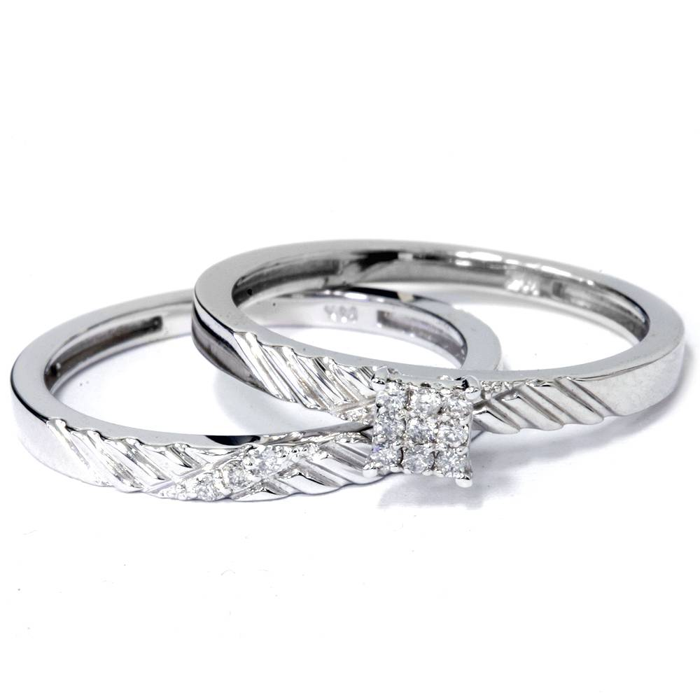 engagement matching wedding ring set 14k white