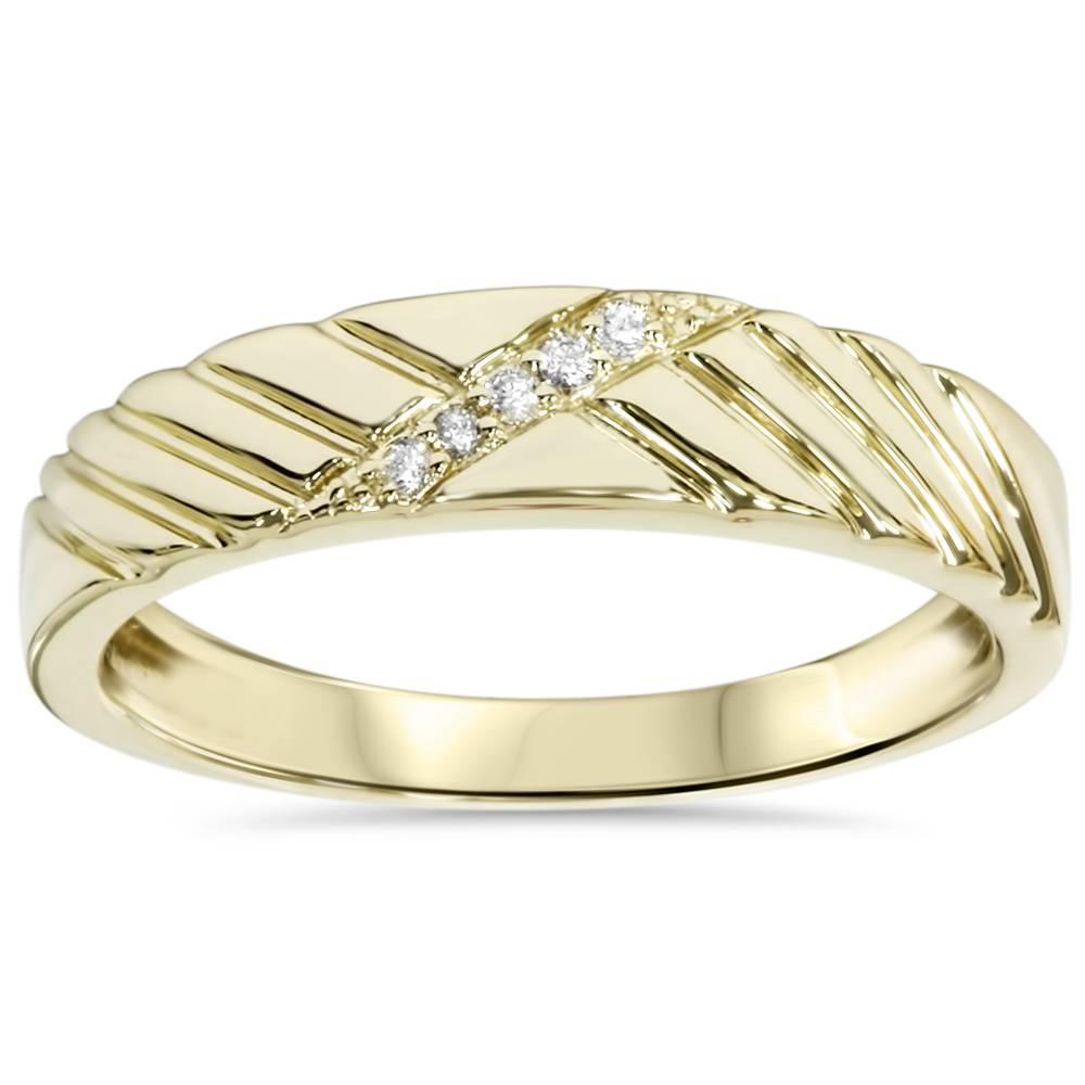 Mens diamond wedding ring yellow gold for Mens diamond wedding rings yellow gold