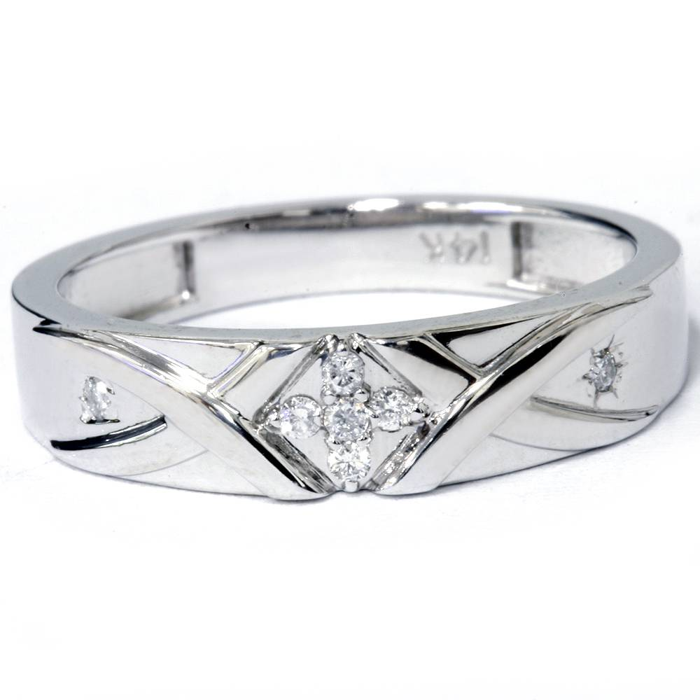 mens diamond cross ring 14k white gold ebay. Black Bedroom Furniture Sets. Home Design Ideas