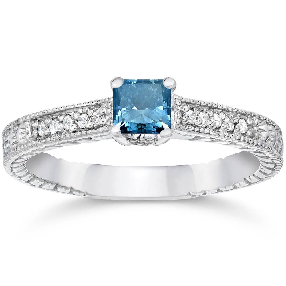 1 2ct Princess Cut Antique Treated Blue Diamond Engagement Ring White Gold